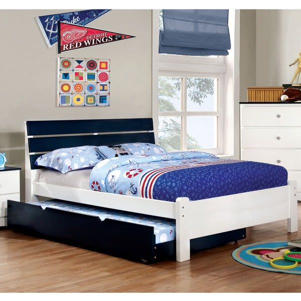 furniture of america piers two tone bluewhite slatted platform bed blue and white furniture