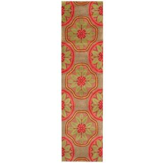 Herat Oriental Indo Hand-tufted Tibetan Gray/ Pink Wool Runner (2'3 x 8'10)