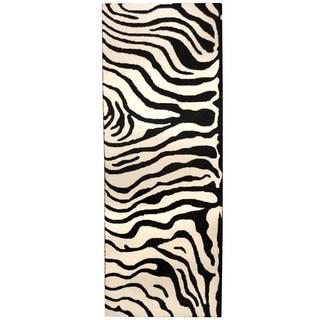 Herat Oriental Indo Hand-tufted Tibetan Zebra-print Ivory/ Black Wool Runner (3' x 8')