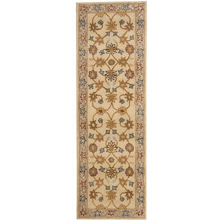 Herat Oriental Indo Hand-tufted Mahal Ivory/ Gray Wool Runner (2'7 x 8')
