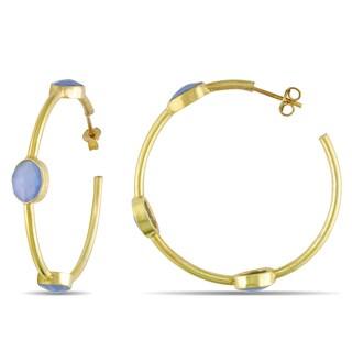 Miadora Yellow Plated Sterling Silver Blue Onyx Hoop Earrings