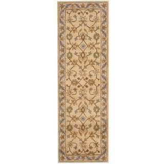 Herat Oriental Indo Hand-tufted Mahal Beige/ Gray Wool Runner (2'7 x 8')