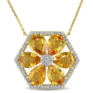 Miadora Signature Collection 14k Yellow Gold Yellow Sapphire and 1/3ct TDW Diamond Flower Necklace (G-H, SI1-SI2)