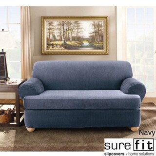 Sure Fit Stretch Stripe 2-piece T-cushion Sofa Slipcover in Navy (As Is Item)