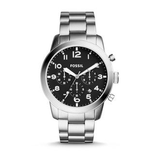 Fossil Men's FS5141 Pilot 54 Chronograph Black Dial Stainless Steel Bracelet Watch
