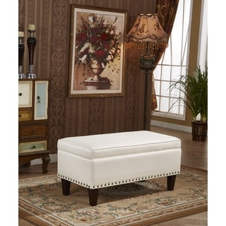 Catillian Premium Selected Faux Leather Storage Bench Ottoman with Nailheads Trims