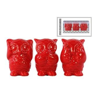 Ceramic Gloss Finish Red Owl Figurines