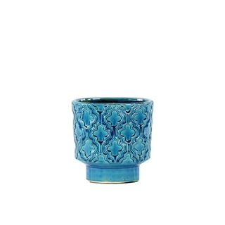 Ceramic Gloss Finish Royal Blue Short Tapered Vase with Base and Embossed Quatrefoil Pattern