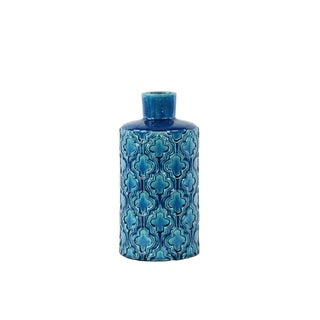 Ceramic Gloss Finish Royal Blue Small Cylindrical Vase with Embossed Quatrefoil Pattern