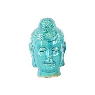Ceramic Gloss Finish Turquoise Large Buddha Head with Bun Ushnisha