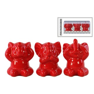 Ceramic Gloss Finish Red Elephant Figurines