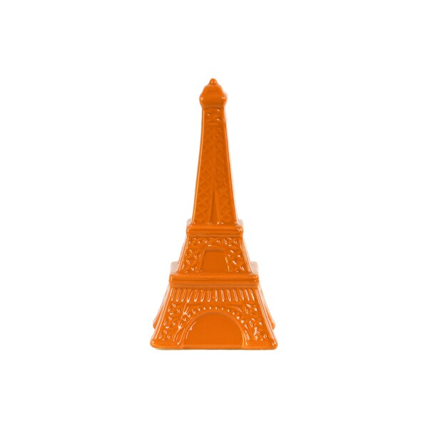 Ceramic Gloss Finish Orange Large Eiffel Tower Figurine