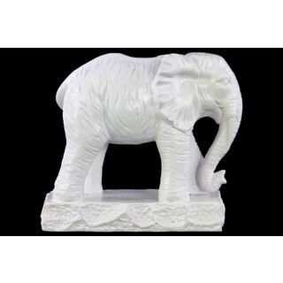 Ceramic Matte Finish White Standing Elephant Figurine on Base