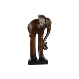 Ceramic Glaze Finish Espresso Brown Large Standing Long-legged Elephant Figurine on Base