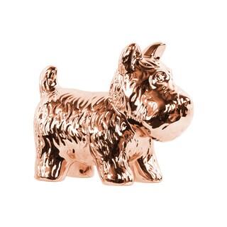 Ceramic Polished Chrome Finish Rose Gold Standing Welsh Terrier Dog Figurine
