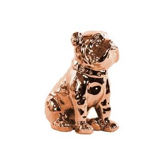Ceramic Polished Chrome Finish Rose Gold Sitting British Bulldog Figurine