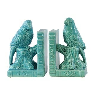 Ceramic Gloss Finish Turquoise Parakeet on a Tree Branch Bookends on Book Base (Set of Two)