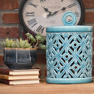 Ceramic Gloss Finish Cyan Large Round Canister with Ring Handle and Cutout Cross Design