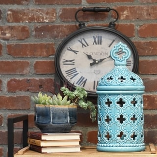 Ceramic Gloss Finish Cyan Small Round Canister with Quatrefoil Handle and Cutout Quatrefoil Design