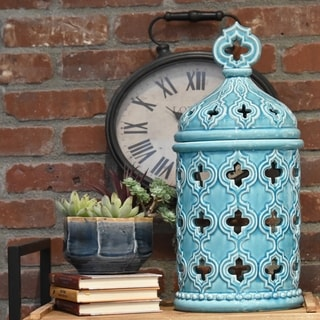 Ceramic Gloss Finish Cyan Large Round Canister with Quatrefoil Handle and Cutout Quatrefoil Design