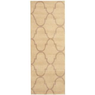 Herat Oriental Indo Hand-tufted Tibetan Ivory/ Beige Wool Runner (2'9 x 7'7)