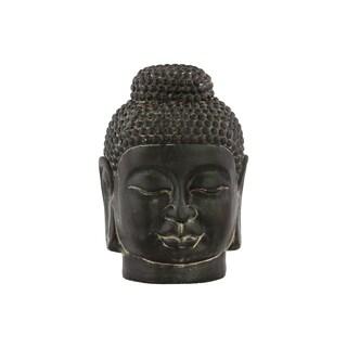 Ceramic Weathered Finish Charcoal Gray Buddha Head with Rounded Ushnisha