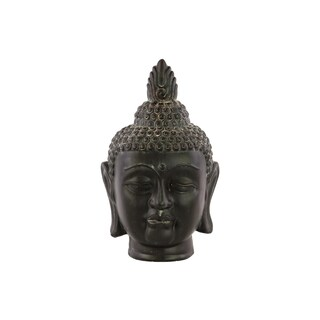 Ceramic Weathered Finish Charcoal Gray Buddha Head with Pointed Ushnisha