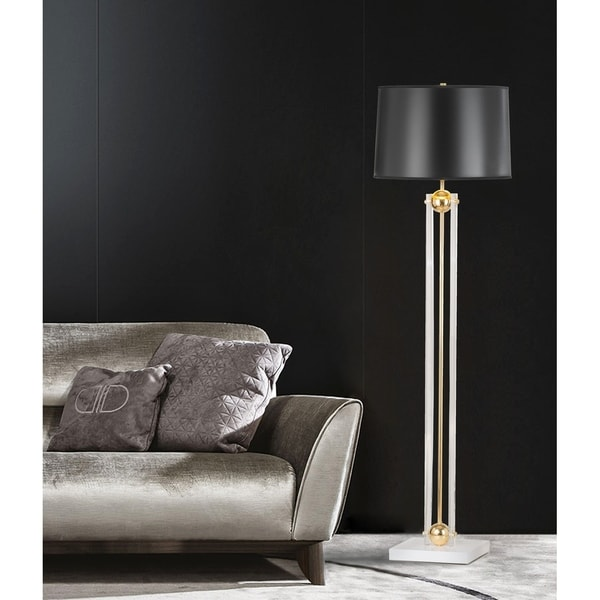 Barbeto White and Goldtone 62-inch Floor Lamp with Black Shade
