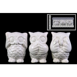 Ceramic Gloss Finish White Owl Figurines
