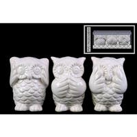 Ceramic Gloss Finish White Owl Figurines