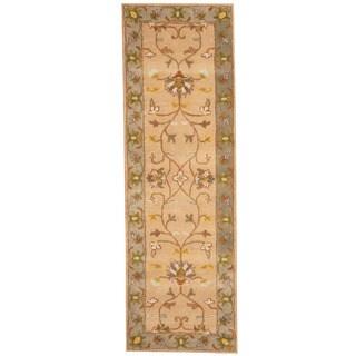 Herat Oriental Indo Hand-tufted Mahal Beige/ Gray Wool Runner (2'7 x 8'2)