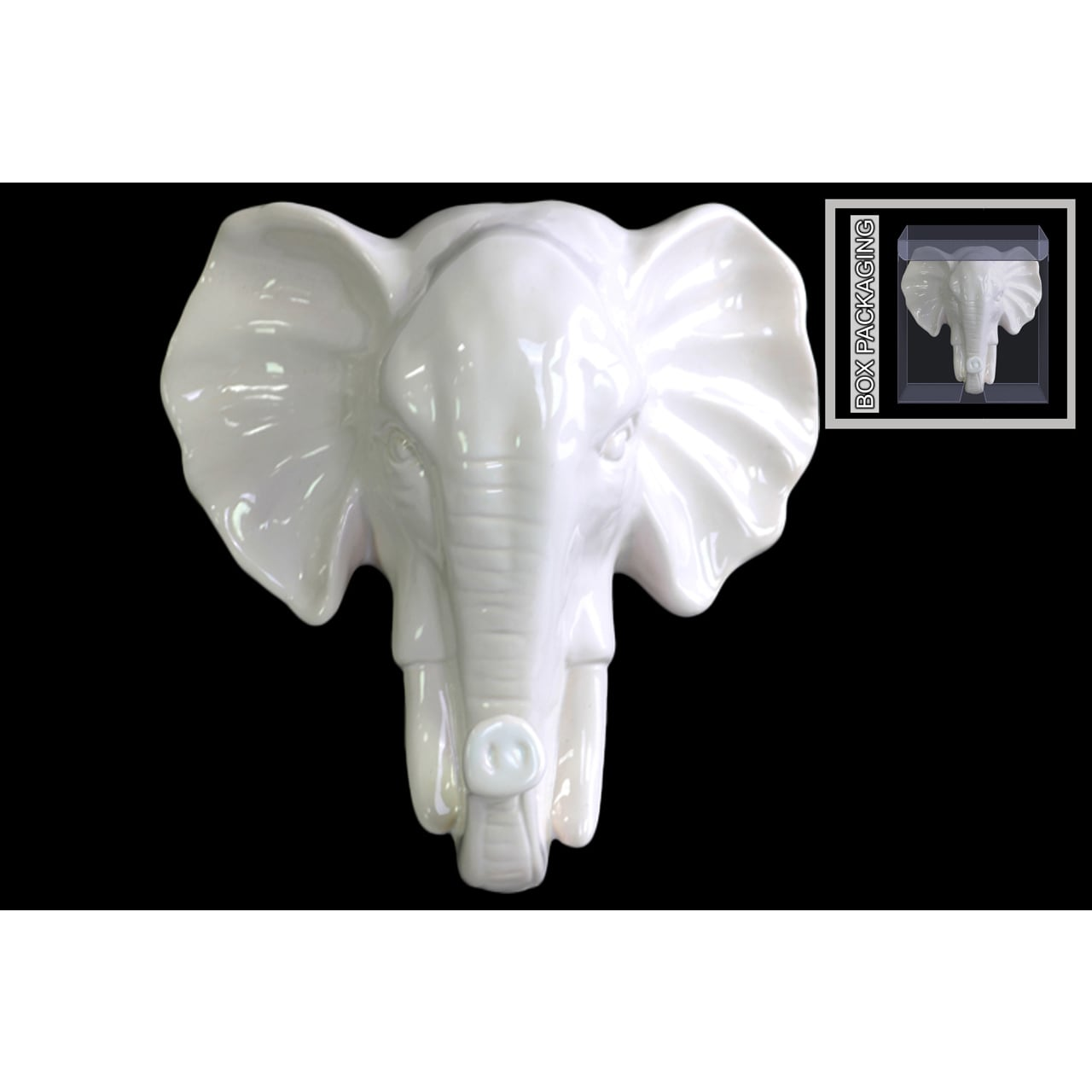 Ceramic Gloss Finish White Elephant Head Wall Decor Overstock 11016806