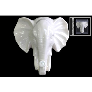 Ceramic Gloss Finish White Elephant Head Wall Decor