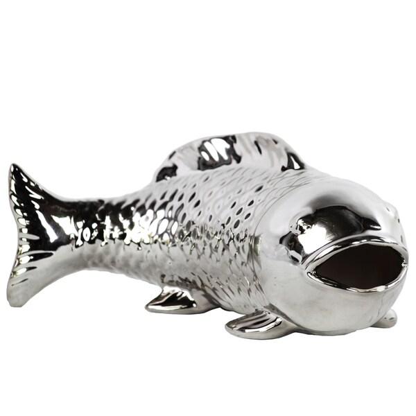 Polished Silver Chrome Finish Ceramic Bowfin Fish Figurine