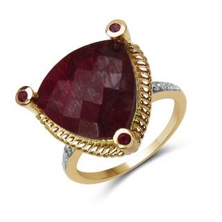 Malaika 11.08 Carat Genuine Dyed Ruby, Ruby & White Diamond .925 Sterling Sil
