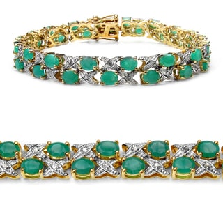 Malaika 14K Yellow Gold Plated 11.84 Carat Genuine Sakota Emerald and White Diamond .925 Sterling Silver Bracelet