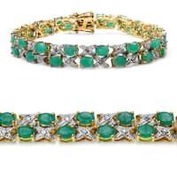 Malaika Yellow Gold-Plated 11.84 Carat Genuine Sakota Emerald and White Diamond .925 Sterling Si