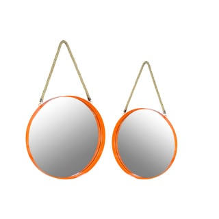 Metal Coated Finish Orange Round Wall Mirrors with Rope Hanger (Set of Two)