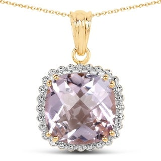 Olivia Leone 14K Yellow Gold Plated 13.60 Carat Pink Amethyst and White Topaz .925 Sterling Silver Pendant