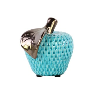 Ceramic Gloss Finish Turquoise Large Apple Figurine with Copper Leaf