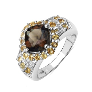 Malaika 2.75 Carat Genuine Smoky Quartz and Citrine .925 Sterling Silver Ring