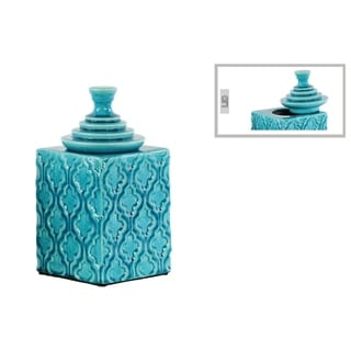 Glossy Turquoise Finish Ceramic Square Canister with Embossed Pattern and Step Lid Small
