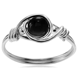 Journee Collection Sterling Silver Onyx Bead Ring