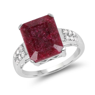 Malaika 7.14 Carat Genuine Ruby and White Topaz .925 Streling Silver Ring