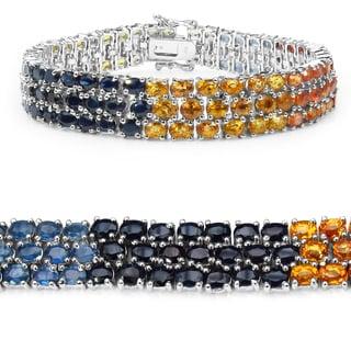 Malaika 32.70 Carat Genuine Multi Sapphire .925 Sterling Silver Bracelet