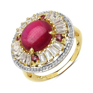 Malaika 8.91 Carat Genuine Glass Filled Ruby, Rhodolite & White Topaz .925 St