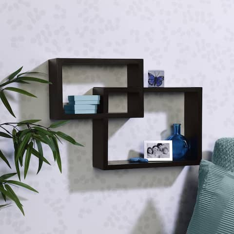 Melannco Espresso Overlapping Cube Wall Shelf