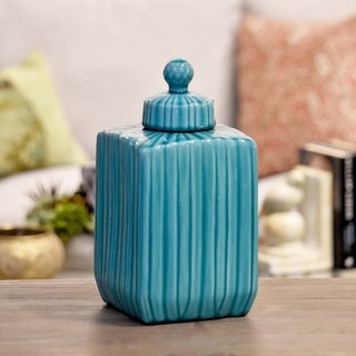 Glossy Turquoise Finish Ceramic Square Canister with Embossed Pattern, Lid and Spherical Handle Large
