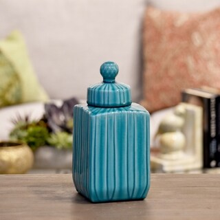 Glossy Turquoise Finish Ceramic Square Canister with Embossed Pattern, Lid and Spherical Handle Small