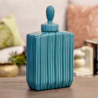 Glossy Turquoise Finish Ceramic Rectangular Canister with Embossed Pattern, Lid and Handle Large